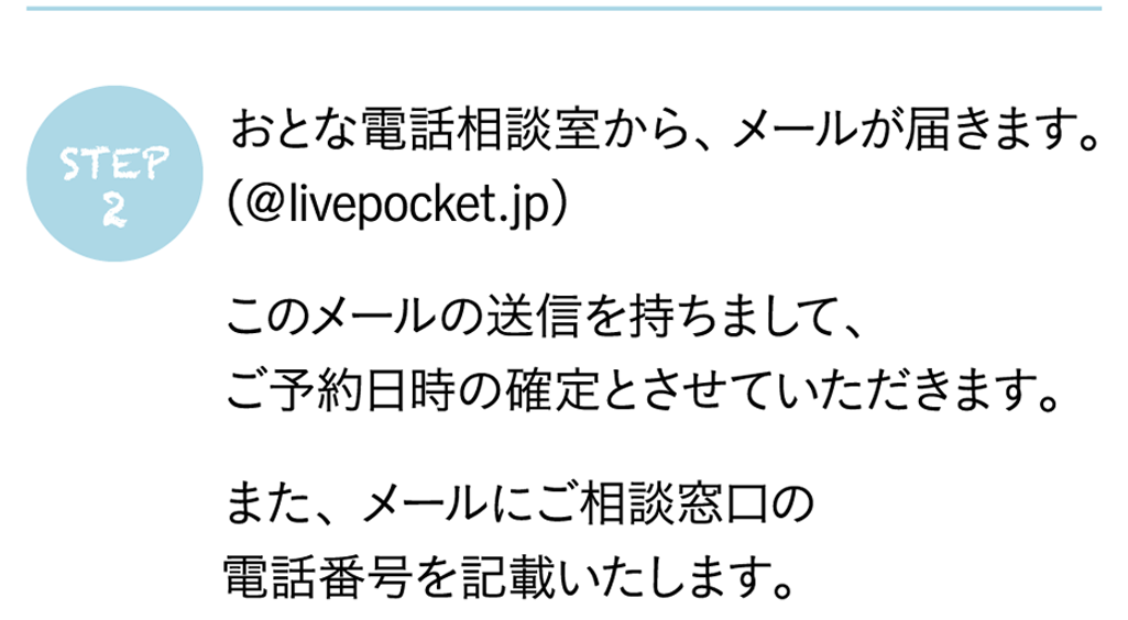 おとな電話相談室から、メールが届きます。(@livepocket.jp)このメールの送信を持ちまして、ご予約日時の確定とさせていただきます。また、メールにご相談窓口の電話番号を記載いたします。